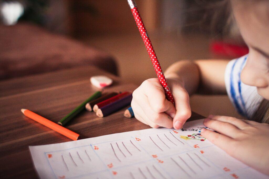 Scriba con i quaderni per la disgrafia